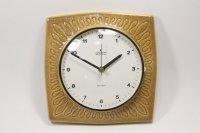 ビンテージ陶製壁掛け時計/Junghans製/ユンハンス/ドイツ/キャメル