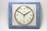 ビンテージ陶製壁掛け時計/Peter /ドイツ/ライトブルー