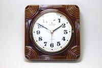 ビンテージ陶製壁掛け時計/Junghans製/ユンハンス/ドイツ/ブラウン