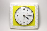 ビンテージ陶製壁掛け時計/Junghans製/ユンハンス/ドイツ/イエロー&ホワイト