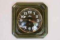 ヴィンテージ陶製壁掛け時計/vedette製 /フランス/ダークグリーン
