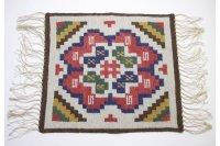 北欧ビンテージ/スウェーデン/手織り物/フレミッシュ織り/テーブルセンター/No.1