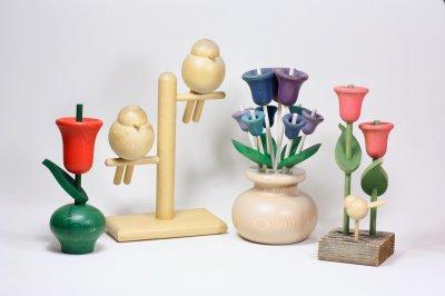 画像1: 北欧インテリアビンテージ雑貨/フィンランド製/aarikka/アーリッカ/木製オブジェ/チューリップと小鳥