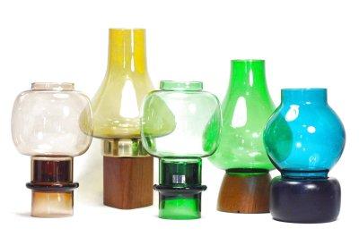 画像1: 北欧ビンテージガラス/ARABIA/キャンドルホルダー&キャンドルスタンド/ライトアンバー