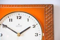 画像2: ビンテージ陶製壁掛け時計/Junghans製/ユンハンス/ドイツ/オレンジ (2)