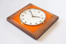 画像3: ビンテージ陶製壁掛け時計/Junghans製/ユンハンス/ドイツ/オレンジ (3)