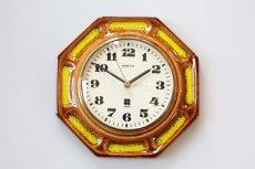 画像1: ビンテージ陶製壁掛け時計/VEDETTE/ドイツ/ブラウン&イエロー (1)