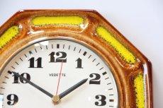 画像2: ビンテージ陶製壁掛け時計/VEDETTE/ドイツ/ブラウン&イエロー (2)