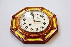 画像4: ビンテージ陶製壁掛け時計/VEDETTE/ドイツ/ブラウン&イエロー (4)