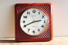 画像7: ビンテージ陶製壁掛け時計/Deluxe製/ドイツ/レッド (7)