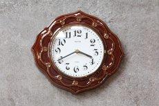 画像1: ビンテージ陶製壁掛け時計/Runa/ドイツ/ブラウン (1)