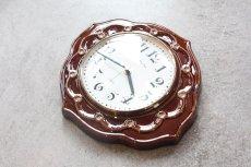 画像3: ビンテージ陶製壁掛け時計/Runa/ドイツ/ブラウン (3)