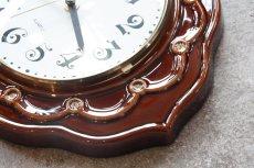 画像4: ビンテージ陶製壁掛け時計/Runa/ドイツ/ブラウン (4)