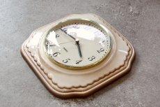 画像4: ビンテージ陶製壁掛け時計/Lectra/ドイツ/ベージュ (4)