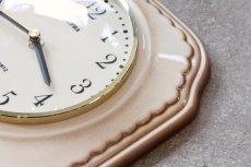 画像5: ビンテージ陶製壁掛け時計/Lectra/ドイツ/ベージュ (5)