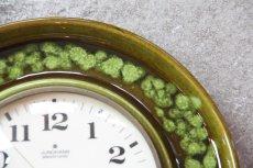 画像2: ビンテージ陶製壁掛け時計/Junghans/ドイツ/ダークグリーン (2)