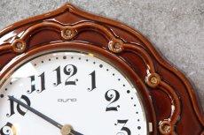 画像2: ビンテージ陶製壁掛け時計/Runa/ドイツ/ブラウン (2)