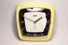 画像2: ビンテージ陶製壁掛け時計/Hettich Schwebegang製/ドイツ/イエロー (2)
