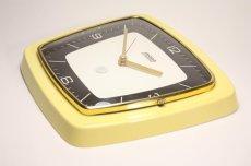 画像4: ビンテージ陶製壁掛け時計/Hettich Schwebegang製/ドイツ/イエロー (4)