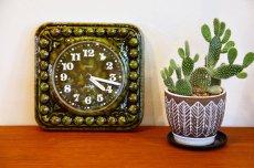 画像1: ビンテージ陶製壁掛け時計/STAIGER製/スタイガー/ドイツ/ダークグリーン (1)