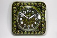 画像2: ビンテージ陶製壁掛け時計/STAIGER製/スタイガー/ドイツ/ダークグリーン (2)