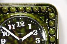 画像4: ビンテージ陶製壁掛け時計/STAIGER製/スタイガー/ドイツ/ダークグリーン (4)
