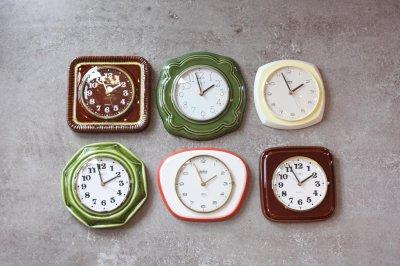 画像1: ビンテージ陶製壁掛け時計/Weimar製/ドイツ/グリーン/新しいムーブメント交換済み