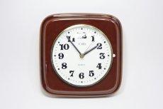 画像1: ビンテージ陶製壁掛け時計/Morelime製/ドイツ/ブラウン/新しいムーブメント交換済み (1)