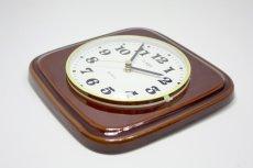 画像3: ビンテージ陶製壁掛け時計/Morelime製/ドイツ/ブラウン/新しいムーブメント交換済み (3)