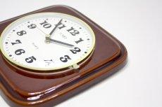 画像4: ビンテージ陶製壁掛け時計/Morelime製/ドイツ/ブラウン/新しいムーブメント交換済み (4)