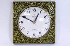 画像1: ビンテージ陶製壁掛け時計/Junghans/ドイツ/オリーブグリーン (1)
