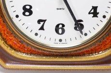 画像3: ビンテージ陶製壁掛け時計/vedette製 /フランス/キャメル✕レンガ (3)