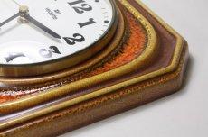 画像5: ビンテージ陶製壁掛け時計/vedette製 /フランス/キャメル✕レンガ (5)