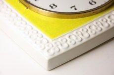画像4: ビンテージ陶製壁掛け時計/Junghans製/ユンハンス/ドイツ/イエロー&ホワイト (4)