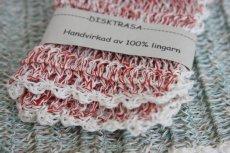 画像2: 北欧スウェーデン 手編み ディッシュクロス リネン100%  赤 (2)