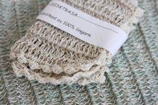 画像2: 北欧スウェーデン 手編み ディッシュクロス リネン100%  生成り (2)