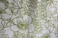 画像1: 北欧ヴィンテージテキスタイル グリーン植物柄 メーターカット (1)