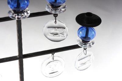 画像1: Erik HoglundエリックホグランBODA ガラスキャンドスタンド ブルー2段5連