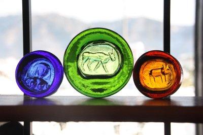 画像1: 北欧ビンテージ雑貨/Erik Hoglund/エリックホグラン/BODA社製/ガラスアッシュトレイ/バッファロー/グリーン/Lサイズ