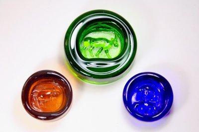 画像2: 北欧ビンテージ雑貨/Erik Hoglund/エリックホグラン/BODA社製/ガラスアッシュトレイ/バッファロー/グリーン/Lサイズ