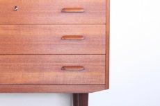 画像12: 北欧ビンテージ家具/デンマーク製/チークライティングビューロー/3段引き出し/鏡付き (12)