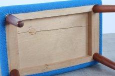 画像5: 北欧ビンテージ家具/デンマーク製/木製スツールもしくはオットマン/チーク×ブルーファブリック (5)