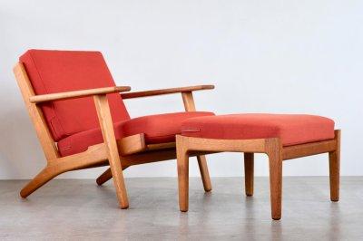 画像1: ビンテージ北欧家具/Hans j Wegner/ハンス J ウェグナー/ゲタマ/GE290オットマン/オーク/クッションはお好きなカラーで張替え代込