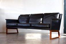 画像1: ビンテージ北欧家具/Søborg Møbelfabrik/革張り/ローズウッド/3人掛けソファー/ダウンクッション (1)