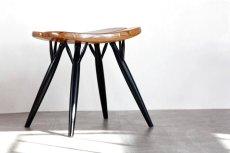 画像1: 北欧ビンテージ家具/フィンランド製/ Ilmari Tapiovaara/イルマリ・タピオヴァーラ/pirkka stool/ピルッカスツール/ハニー&ブラック (1)