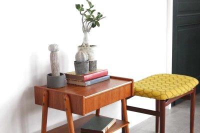 画像1: ビンテージ北欧家具/スウェーデン/チーク×ビーチ/ベッドサイドテーブル