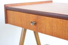 画像4: 北欧ビンテージ家具/スウェーデン/チーク×ビーチ/ベッドサイドテーブル+籐棚 (4)