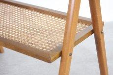 画像6: 北欧ビンテージ家具/スウェーデン/チーク×ビーチ/ベッドサイドテーブル+籐棚 (6)