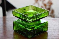 画像2: ビンテージ北欧ガラス/Riihimaen Lasi/Palaシリーズ/花瓶/グリーン/Mサイズ (2)