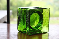 画像4: ビンテージ北欧ガラス/Riihimaen Lasi/Palaシリーズ/花瓶/グリーン/Mサイズ (4)